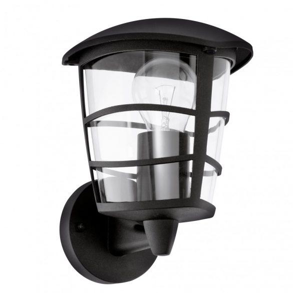 Eglo kültéri fali fel E27 1x60W 17*22,5*19cm alumínium öntvény fekete, átlátszó műanyag IP44 Aloria