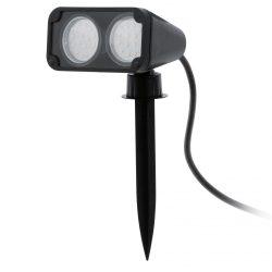 Eglo kültéri LED leszúrható GU10 2x3W 11,5*11,5*18,0cm műanyag fekete, 2m kábel, IP44 Nema 1