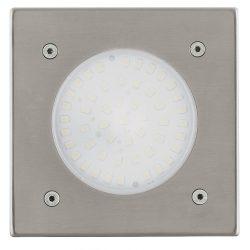 Eglo kültéri LED talajba építhető 1x2,5W 180lm szögletes 10,2*10,2cm nemesacél, átlátszó üveg IP65 Lamedo