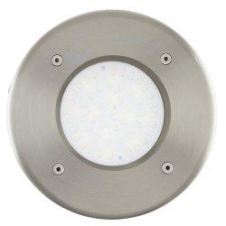 Eglo kültéri LED talajba építhető 1x2,5W 180lm kerek d:10,2cm nemesacél, átlátszó üveg IP65 Lamedo