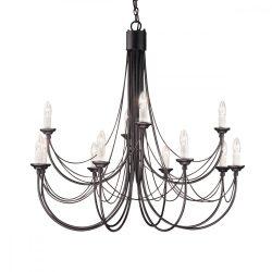 ELSTEAD Carisbrooke 12Lt csillár fekete   (CSAK lámpaVÁZ, AZ ÜVEGBURÁT KÜLÖN KELL RENDELNI HOZZÁ)